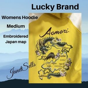 Lucky Brand M Yellow Cotton Japan Map Hoodie